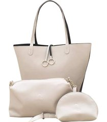 bolso fe style creative reversible par mujer - beige con negro