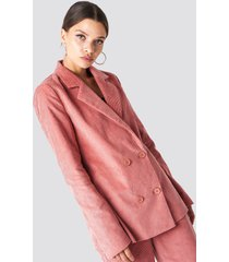 na-kd classic double breasted corduroy blazer - pink