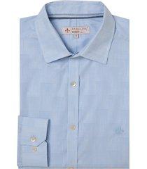 camisa dudalina manga longa jacquard fio tinto masculina (azul claro, 7)