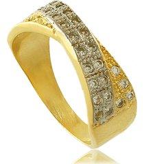 anel entrelaçado com zircônias e detalhe em ródio 3rs semijoias dourado
