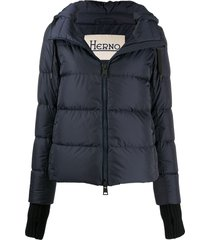 herno feather-down puffer jacket with detachable hood and glove