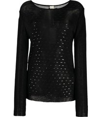 gianfranco ferré pre-owned 1990s boat neck openwork blouse - black