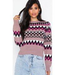 nly trend retro jacquard knit stickade tröjor