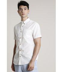 camisa masculina com linho e bolso manga curta off white