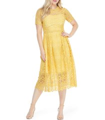 women's maggy london crochet lace midi dress, size 0 - yellow
