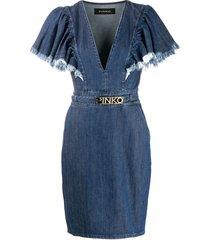pinko frayed sleeve denim dress - blue