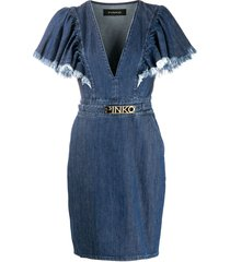 pinko frayed sleeve denim dress - blue