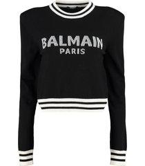 balmain wool-cashmere blend crew-neck pullover