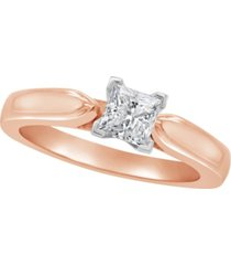 certified princess cut diamond solitaire engagement ring (1/2 c.t. t.w.) in 14k white gold, rose gold, or yellow gold