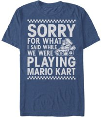 nintendo men's mario kart i didn't mean it while playing apology short sleeve t-shirt