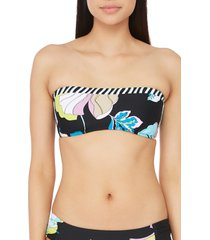 women's trina turk sinatra floral print bandeau swim top, size 10 - black