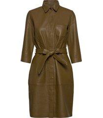 raymon leather dress knälång klänning grön minus