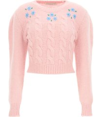 alessandra rich cropped knit flower sweater