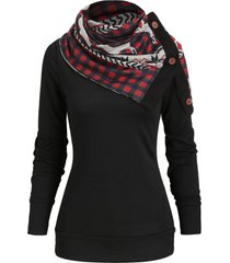 christmas elk plaid knitwear with button up scarf