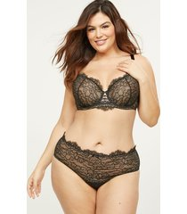 lane bryant women's wide-side thong panty with strappy back 14/16 black