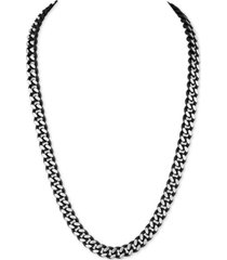"""esquire men's jewelry men's curb link 22"""" chain necklace in black enamel and stainless steel, created for macy's"""