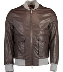 contrast collar and cuff leather bomber jacket