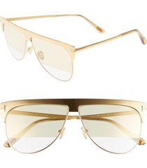 women's tom ford winter 62mm rectangular sunglasses - endura gold/ beige/ gold