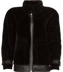 omkeerbare faux lammy jas nicole  zwart