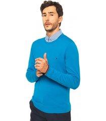 sweater celeste redondo tommy hilfiger