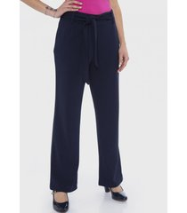 pantalón con lazo en cintura azul lorenzo di pontti