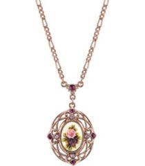 "2028 rose gold-tone purple crystal flower pendant necklace 28"""