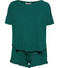 pj short top ss dot leopa pyjamas grön hunkemöller