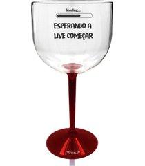 2 taã§as gin transparente com base vermelha personalizada para live - incolor - dafiti