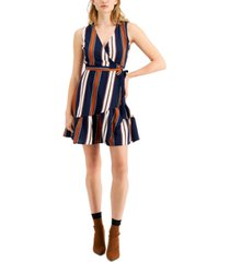 bar iii striped wrap mini dress, created for macy's