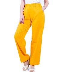 pantalón de lino mostaza bellisima