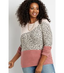 maurices plus size womens leopard colorblock straight hem pullover red