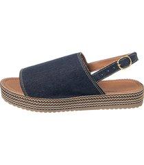 sandália sacolei flatform corda jeans - kanui
