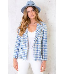 tweed button blazer jeansblauw