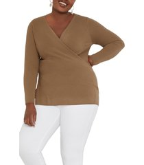 plus size women's eloquii ribbed cross front sweater