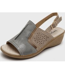 sandalia beige/gris begoña