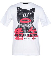 dsquared2 designer t-shirts & tops, year of the pig white printed cotton women's t-shirt