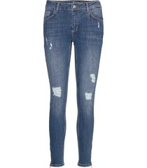 40 the celinazip torn custom skinny jeans blå denim hunter