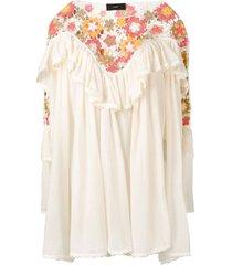 alanui crochet tiered ruffle dress - white
