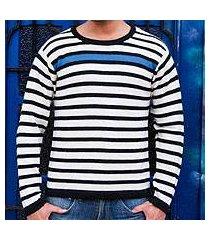 men's 100% alpaca sweater, 'blue spark' (peru)