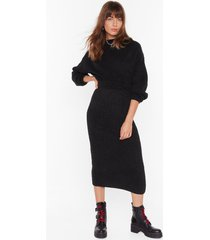 womens ain't no doubt about knit high-waisted midi skirt - black