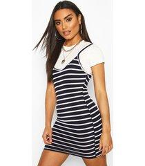 2 in 1 t-shirt & striped slip dress, navy