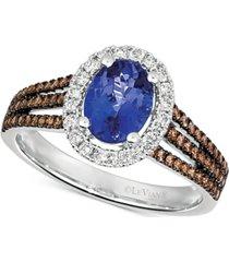 le vian blueberry tanzanite (1 ct. t.w.) & diamond (1/2 ct. t.w.) ring in 14k white gold