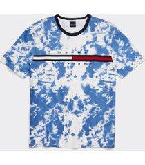 tommy hilfiger men's adaptive signature stripe tommy t-shirt bright white/ blue tie dye - xl
