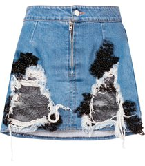 almaz denim and lace mini skirt - blue