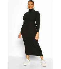 plus soft rib roll neck midaxi dress, black