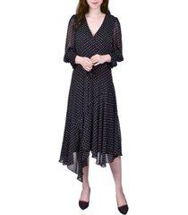 women's elbow sleeve asymmetrical hem dress