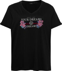 t-shirt print plus short sleeves t-shirts & tops short-sleeved svart zizzi