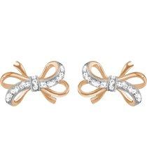 orecchini fiocco in argento 925 bicolore e zirconi per donna