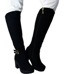botas en microfibra tacón 5 y medio para mujer outfit sicilia negro