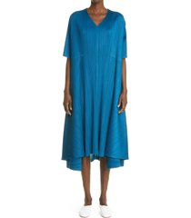pleats please issey miyake twilight pleated swing dress, size 3 in night blue at nordstrom